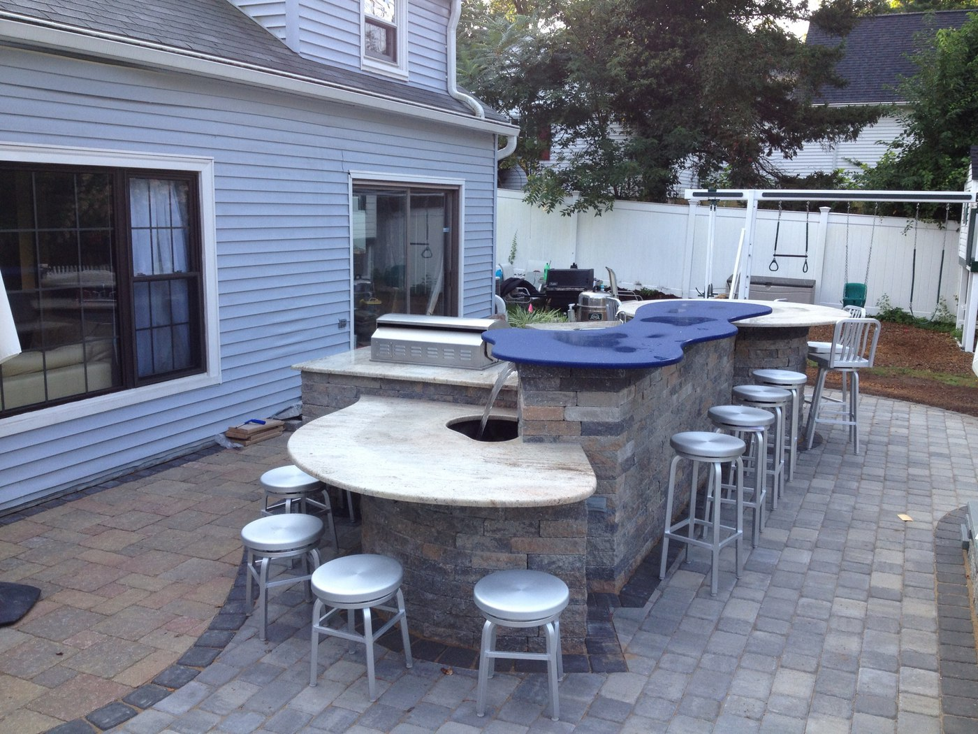Outdoor Grill and Bar with Waterfall by Bahler Brothers in Glastonbury, CT