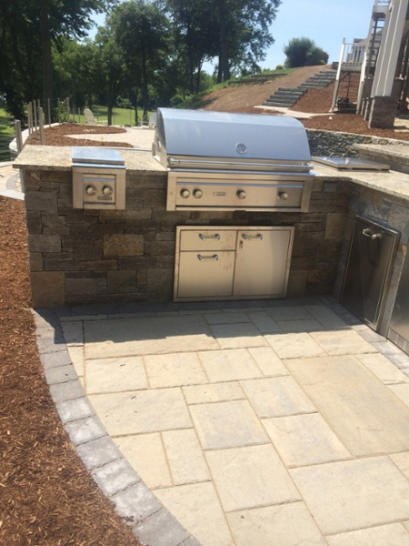 Outdoor Kitchen and Outdoor Bar with Stainless Steel Grill, Side Burner & Refrigerator by Bahler Brothers in Cromwell, CT
