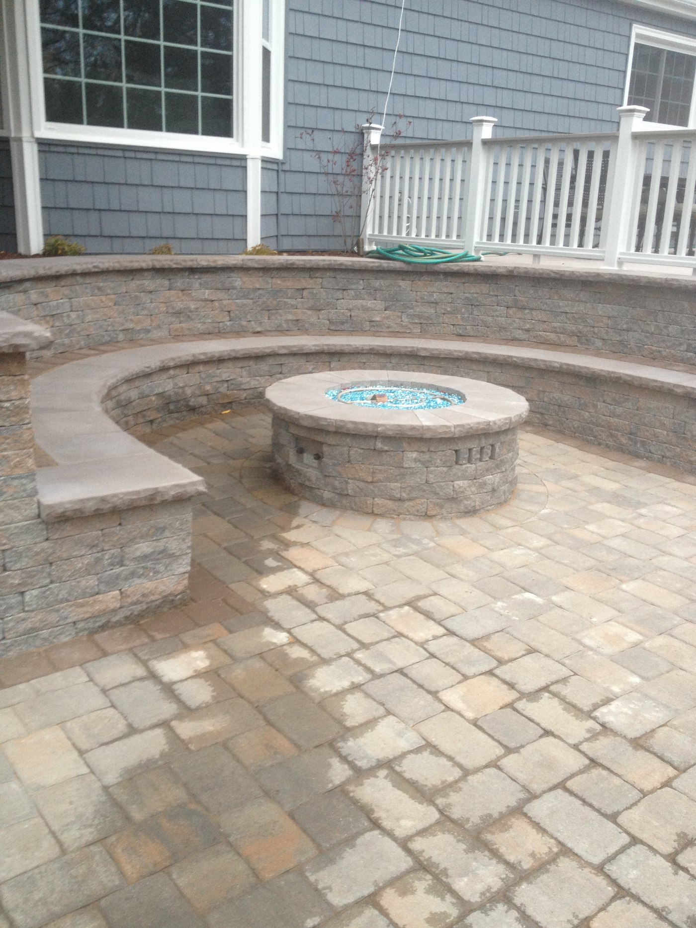 An outdoor fire feature installed in West Hartford, CT