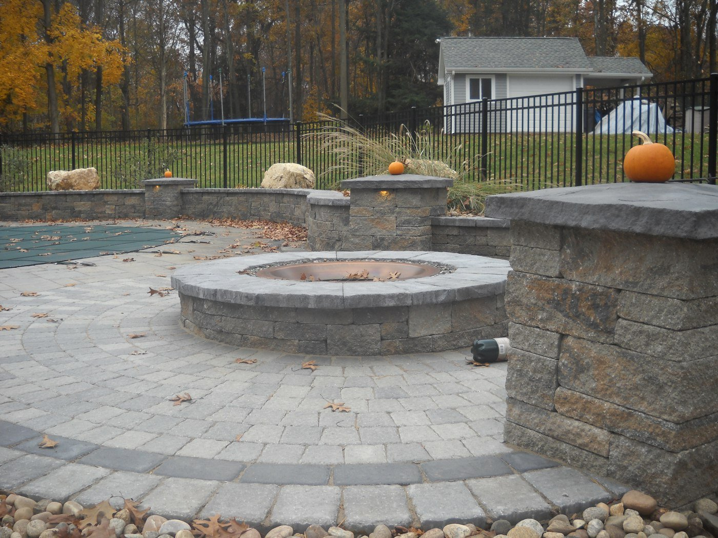 Paver Pool Patio with Fire Pit and Sitting Walls