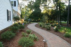 Paver Walkway with Landscaping and Lighting