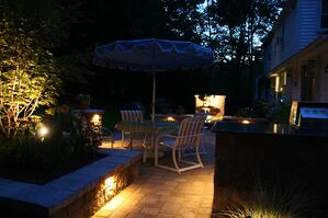 Paver Patio at night with Outdoor Landscape Lighting