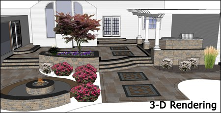 3D rendering of multi level patio