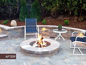 Paver Patio with Retaining Wall and Fire Pit and Landscape Lighting