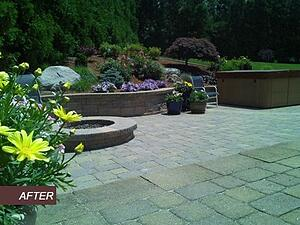 Paver Patio with Fire Pit and Retaining Walls and Hot Tub