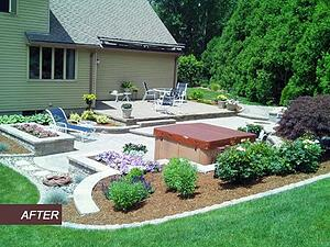 Multi-Level Paver Patio with Hot Tub