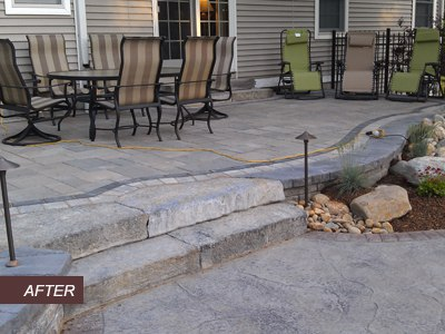 Paver Patio with Landscape Lighting