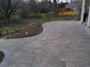 Paver patio with blu 60 paver by Techo-Bloc