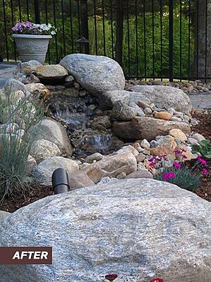 Landscape Water Fall and Patio