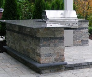 Outdoor Kitchen and Bar on Paver Patio by Bahler Brother in CT, Western MA
