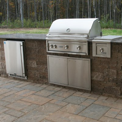 Outdoor Grill Island With Lynx Grill And Side Burner On Patio By Bahler  Brothers In CT