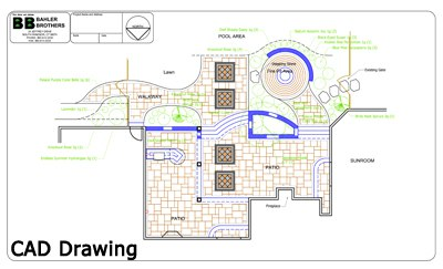 CAD drawing of multi level patio