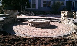 Fire pit on Multi-level Paver Patio
