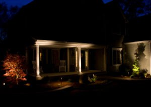 Low Voltage Lighting on the Pillars on the Front of the House