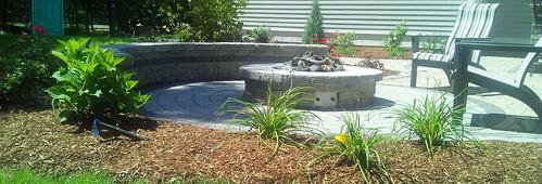Propane Fire Pit in Paver Patio with Retaining Walls