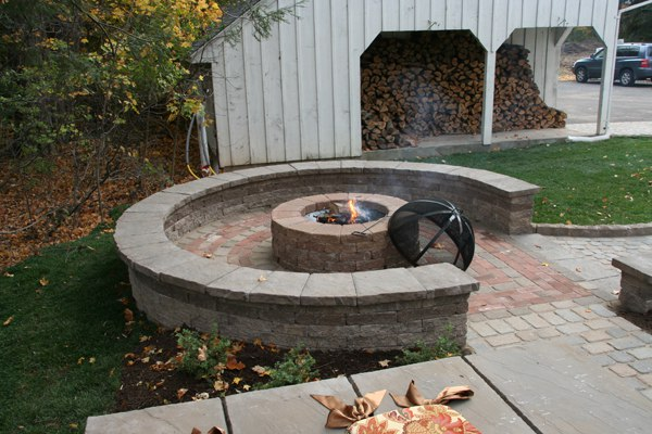 Patio with Fire Pit and Sitting Wall