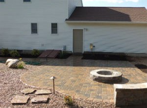 Paver Patio with Fire Pit and Landscape Lighting
