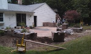 Backyard Paver Patio with Built-in Grill and Retaining Walls in progress