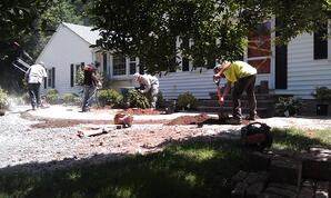 Paver Sidewalk and Front Landscaping install