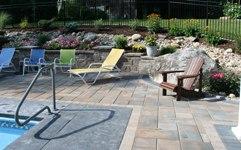 paver pool patio with retaining walls