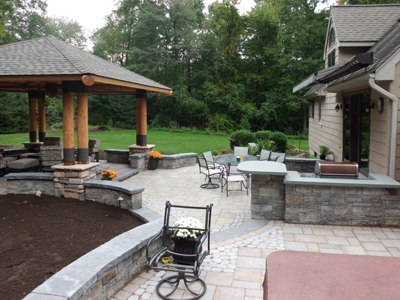 mulit level patio with fireplace bungalow and sitting walls