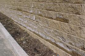 Retaining wall with efflorescence.