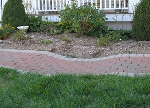 settled area of pavers