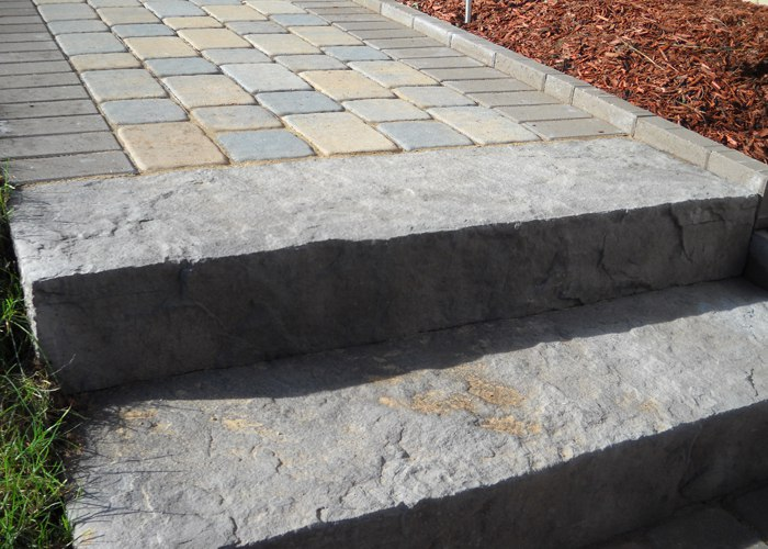 A large slab step at the beginning of a walkway.