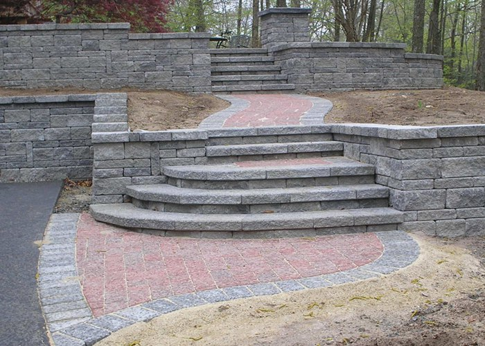 Many steps in a retaining wall.