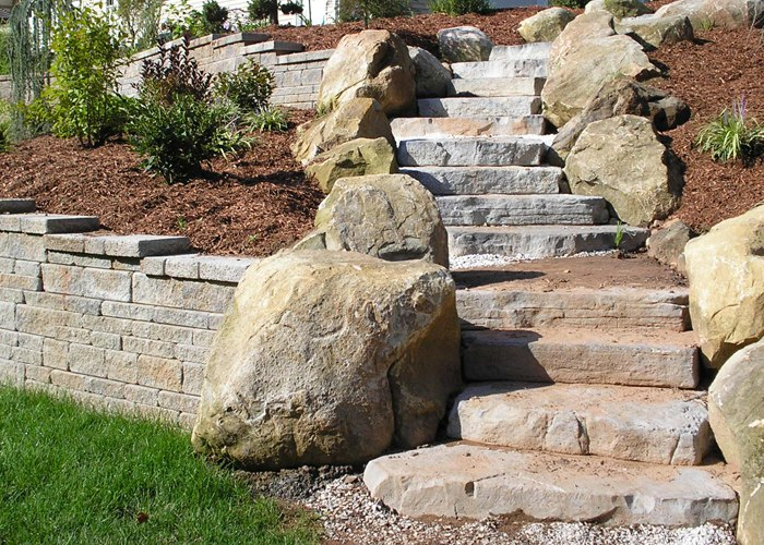 Rosetta steps made to look like natural stone.