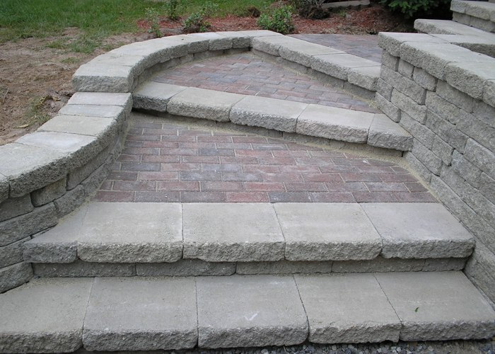 Curved steps.