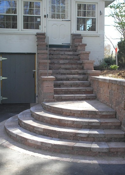 A staircase up to the front door.