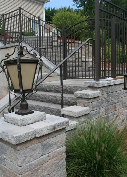 Large staircase of interlocking concrete block.
