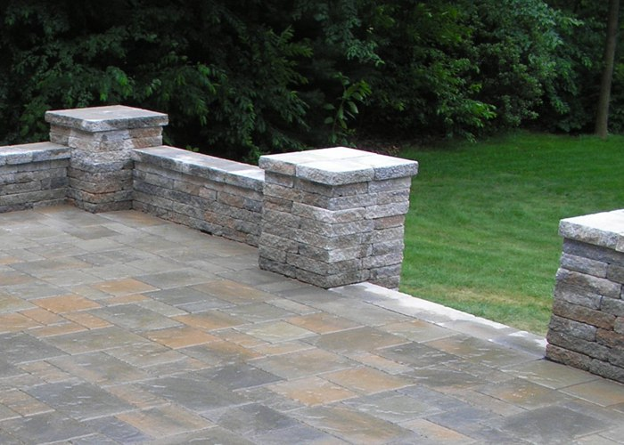 A sitting wall to define the edges of a patio.