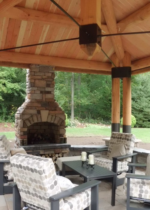 An outdoor fire feature installed in Connecticut