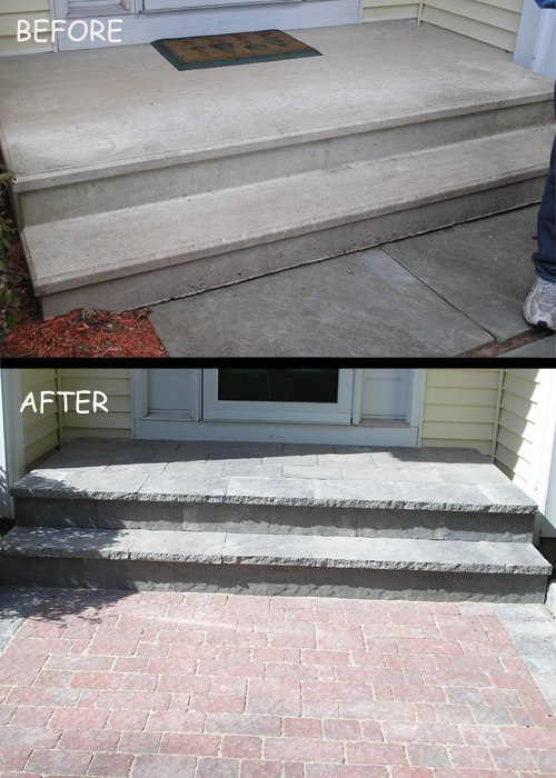 A before and after photo of a concrete step overlay. So much better!