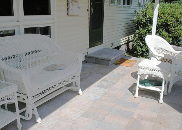 A concrete porch that was redone using an overlay.