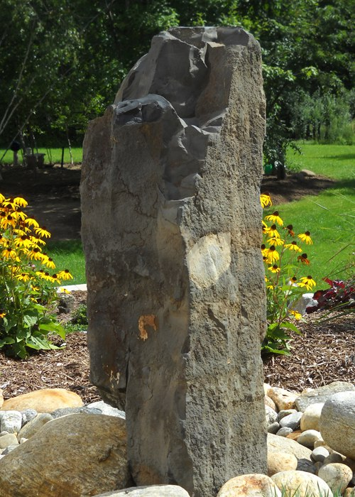 basalt column water feature in Ellington, CT installed by Bahler Brothers