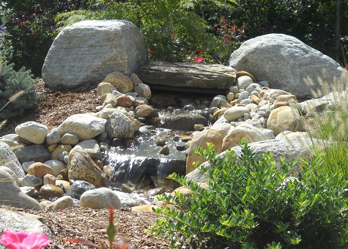 rocky stream installed by Bahler Brothers in Ellington, CT