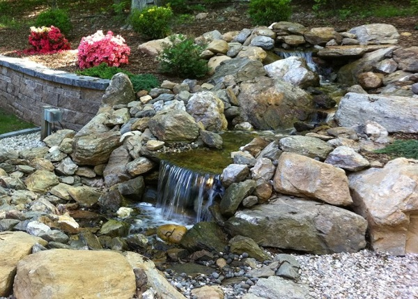 large pondless water feature in Connecticut installed by Bahler Brothers