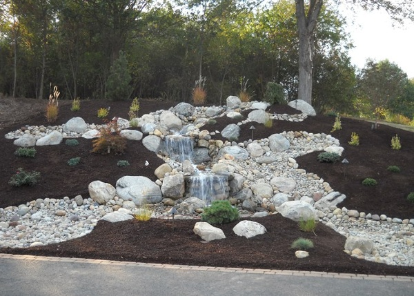 large pondless water feature in Somers, Connecticut installed by Bahler Brothers