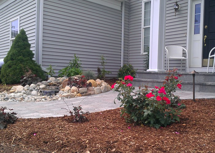 Landscaping and Waterfall installed by Bahler Brothers in CT