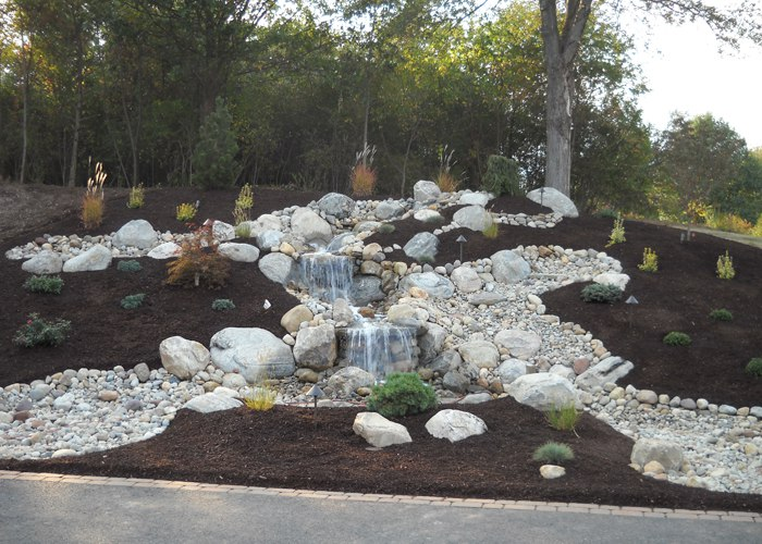 Waterfall and landscaping by Bahler Brothers in CT