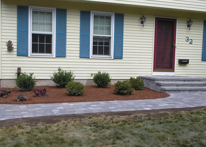 Paver front walkway and landscaping by Bahler Brothers in CT