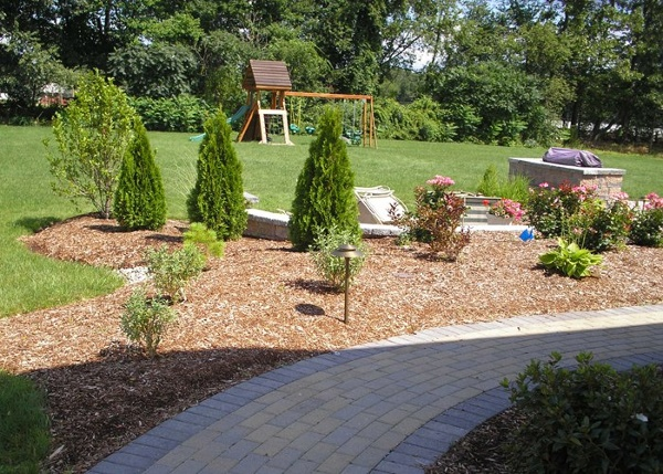 Back paver walkway and landscaping by Bahler Brothers in Ellington, CT
