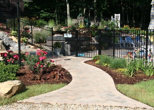 Paver Walkway to a pool patio by Bahler Brothers in CT