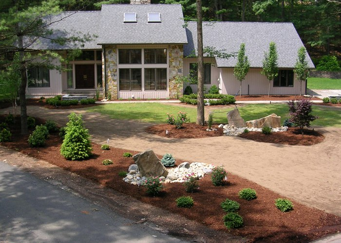 Contemporary landscape installed by Bahler Brothers in CT