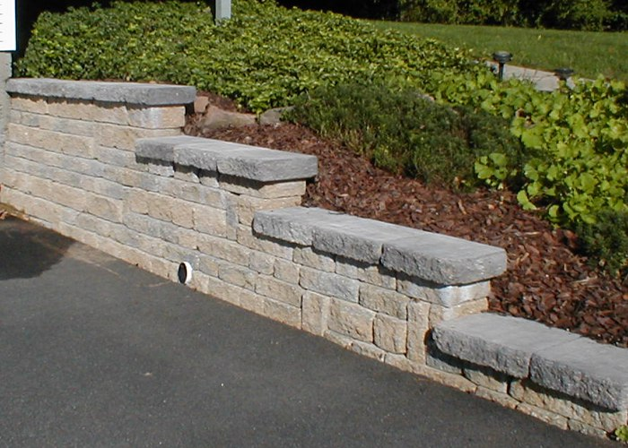 Retaining wall installed in Connecticut