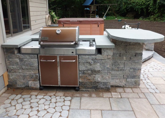 Built in outdoor kitchens in connecticut for Outdoor grill and bar designs