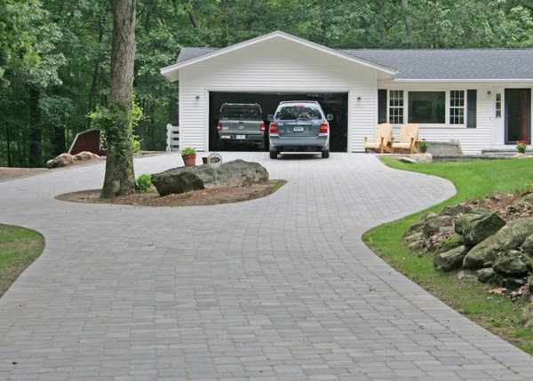 Paver driveway installation by Bahler Brothers in Andover, CT.